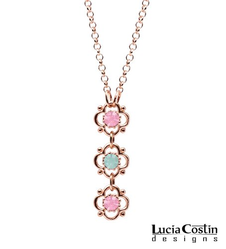 Dainty Flower Pendant by Lucia Costin with 4 Petal Flowers Surrounded by Dots, Mint Blue and Light Pink Swarovski Crystals; 14K Pink Gold Plated over .925 Sterling Silver