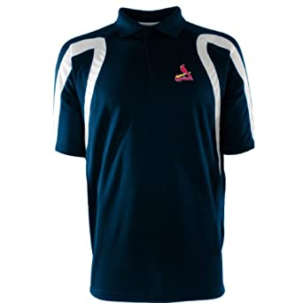 MLB Mens St. Louis Cardinals Point Desert Dry Polo (Navy White, Small) by Antigua