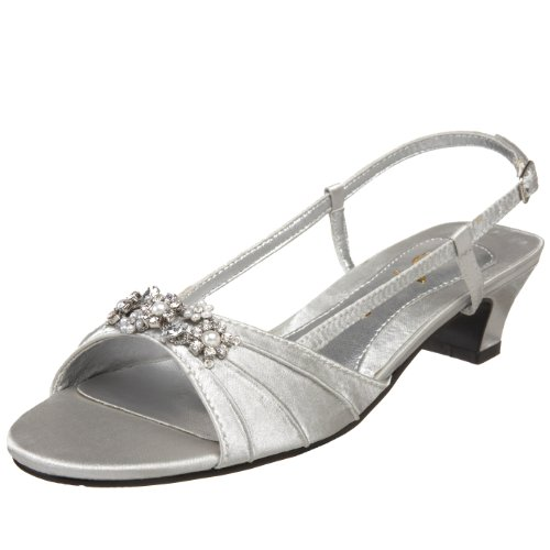 Annie Shoes Women's Aliza Slingback,Silver Satin,12 M US