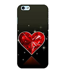 Beautiful Shining Red Heart 3D Hard Polycarbonate Designer Back Case Cover for Apple iPhone 6