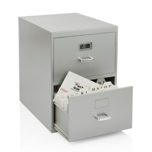 Miniature File Cabinet for Business Cards with Built-in Digital Clock, PI-9617 image