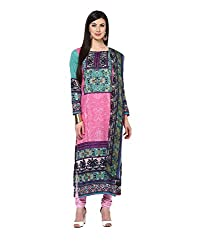 Yepme Calista Unstitched Suit - Pink & Green -- YPMRTS0220_Free Size