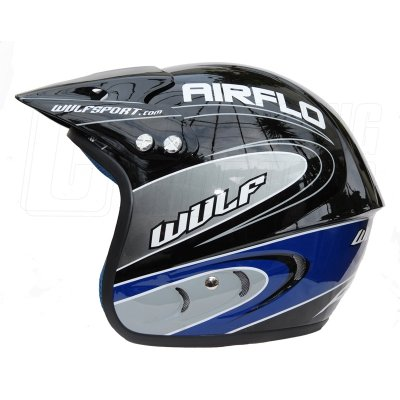 WULF AIRFLO BLACK OPEN FACE OFF ROAD, TRIALS, GREENLANE, ENDURO, QUAD, KART HELMET (SMALL 56-57)