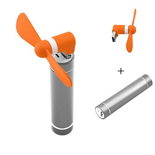 Portable Phone Fan - FanTEK Handheld USB / Micro USB OTG Mini Fan with a 2600mAh Mobile Emergency Power Charger Battery (Orange) (Mobile Fan 12 compare prices)