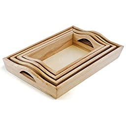 Multicraft Imports Paintable Wood Trays, 4.25-Inch by 7.5-Inch to 6.75-Inch by 10.25-Inch, Set of 4