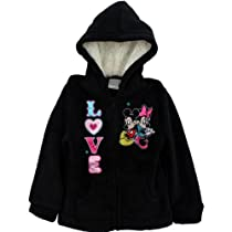 "Disney Minnie Mouse ""LOVE"" Black Fleece Zipper Hoodie 4-6X (5)"