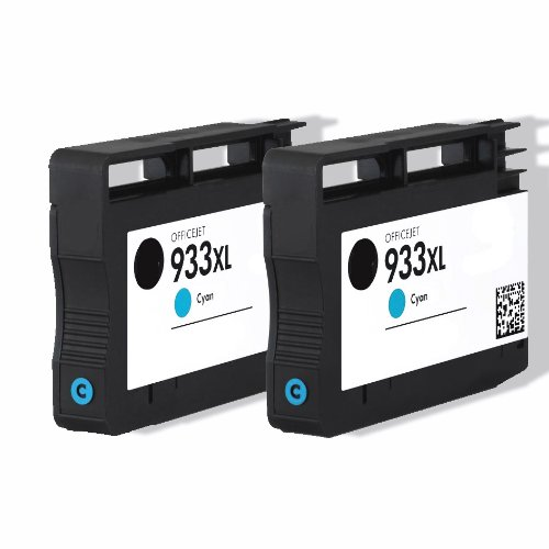 Premium 2er Pack Tintenpatronen für HP 933XL , 933 XL , CN054AE , CN 054AE HP Hewlett Packard Officejet 6100 6600 6700 kompatibel (Cyan/Blau)