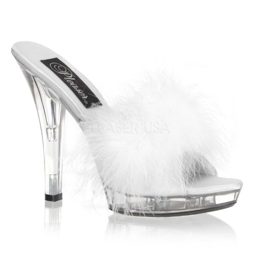 Cheap 5 inch Stiletto Heel Platform Marabou Slipper White Satin-Fur/Clear (B007D562QG)