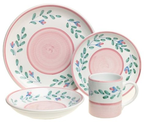 Caleca Pink Garland 16-Piece Dinnerware Set, Service for 4