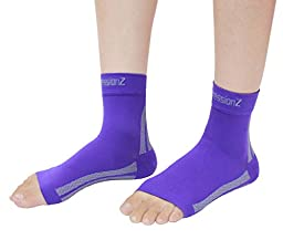 Foot Sleeves (1 Pair - Purple S) Best Plantar Fasciitis Compression for Men & Women - Heel Arch Support/ Ankle Sock
