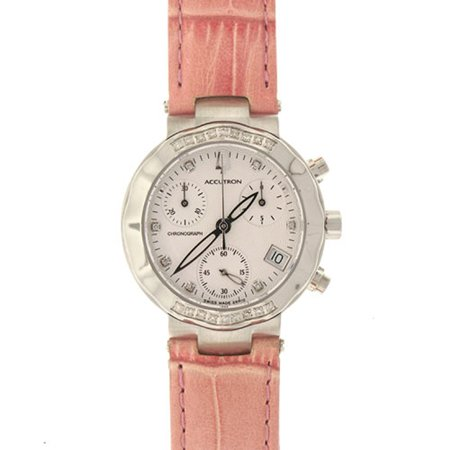 Accutron Women's 26R10 Chamonix Diamond Chronograph Orange Leather Watch