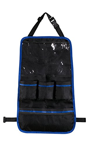 Car Seat Back Organizer - Large plastic top pocket holds iPad and Android Tablets. Five additional pockets hold sippy cups, bottles, toys, snacks, and books. Easy install with strap in front of seat. (Truck Organizer Back Seat compare prices)