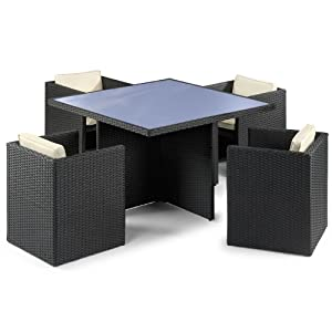 Cube 4 Seater Garden Rattan Table And Chairs Set Amazon