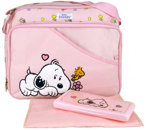 baby snoopy large pink diaper bag wipe case designer nappy bags. Black Bedroom Furniture Sets. Home Design Ideas