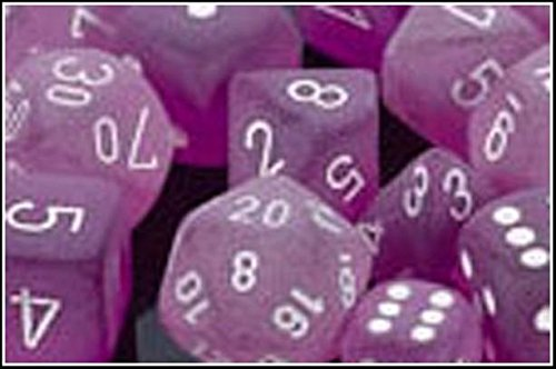Chessex Manufacturing LE430 Cube Frosted Purple With White 7-Set - 1