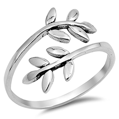 Open Leaf Branch Tree Vine Women's Ring New .925 Sterling Silver Band Size 9 (RNG15302-9) (Silver Leaf Ring compare prices)
