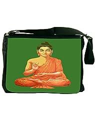 Snoogg Buddha For Peace Green Laptop Messenger Bag
