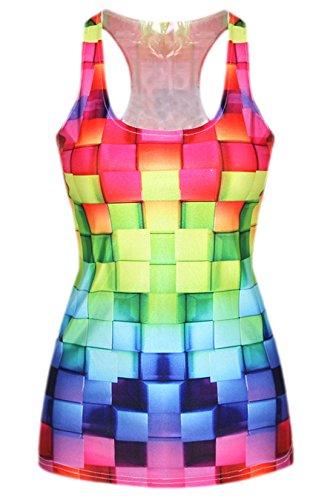 erdbeerloft - Damen Mädchen Tank Top Cube Bunt Print, One Size S-M, Mehrfarbig