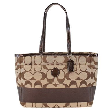 Coach Signature Stripe Baby Diaper Multifunfunction Laptop Bag Purse Tote 15188 Mahogany Brown