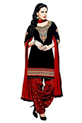 Pehnawa Fashion Women Cotton Unstitched Dress Material (Black with Mehroon)