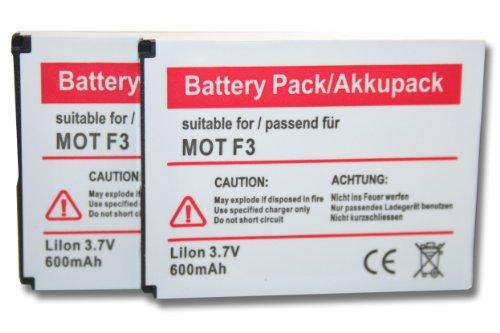 2 x batteria vhbw 600mAh per telofono fisso cordless Motorola Motofone F3, AVM Fritz! Fone MT-F, M2 come 312BAT006, 100402