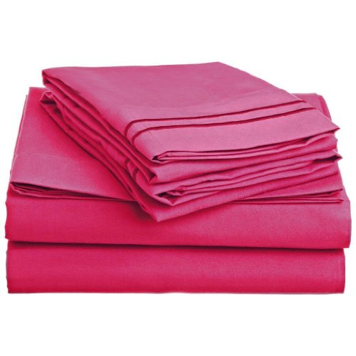 """Elegant Comfort ® 1500 Thread Count Wrinkle Resistant 4 Pc Sheet Set, Deep Pocket Up To 18"""" - All Size And Colors , Queen Pink front-410874"""