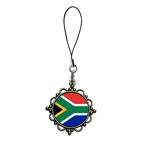 Giftjewelryshop Ancient Bronze Retro Style South Africa Flag Flower Photo Flower Strap Hanging Chain For Phone Cell Phone Charm