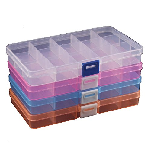 Duofire 4 Packs(4 Colors) Plastic Storage Box(15 Compartments) Jewelry Earring Tool Containers
