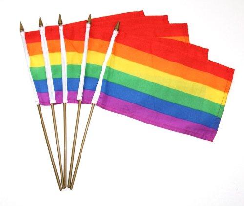 【レインボーフラッグ 10cm×15cm (手旗) 5本セット】LGBT 同性愛 レズビアン ゲイ の シンボル
