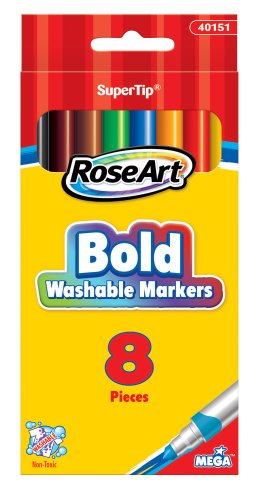 RoseArt Washable Bold SuperTip Markers, 8-Count, Packaging May Vary (40151VA-24) - 1