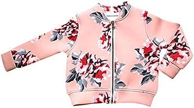 Weixinbuy Kid Girl39s Long Sleeve Outerwear Floral Fall Zipper Casual Jacket