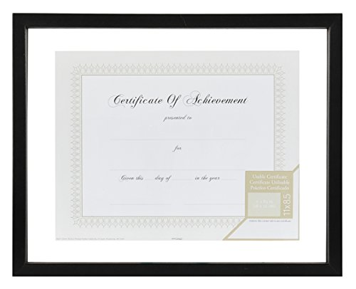 Gallery Solutions Floating Document Frame, 14 by 11-Inch, Black