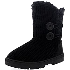 Womens Twin Button Fully Fur Lined Waterproof Winter Snow Boots ,8 B(M) US,Black Knitted