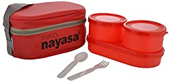 Nayasa Duplex Softline Plastic Lunch Box, 3-Pieces, Red