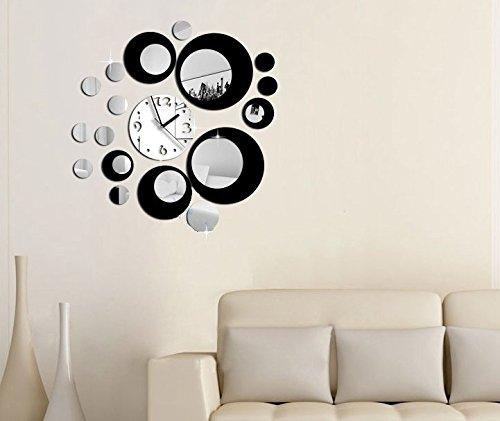 Silver mirror argento cerchio nero orologio di parete - Relojes de pared modernos para salon ...