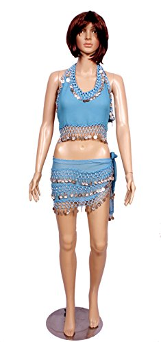 A 2pc Set of Blue Costumes for Halter Bra Choli Hip Wrap Scarf Belly Dance Costume