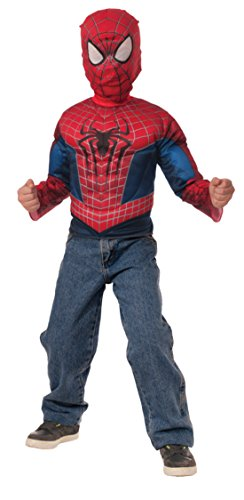 Boys Spiderman Muscle Chest Shirt Kids Child Fancy Dress Party Halloween Costume