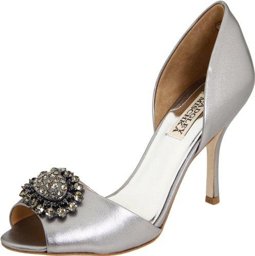 badgley-mischka-lacie-donna-argento-pelle-scarpe-tacchi-taglia-eu-39