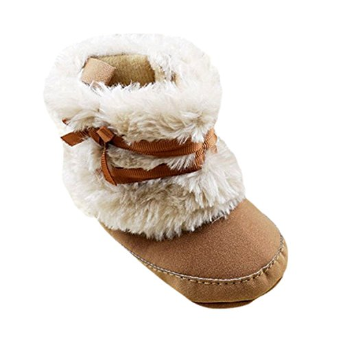 Baby Infant Bowknot Boots Soft Crib Shoes Toddler Warm Fleece Prewalker 0-18M (Small(0-6 Months), Khaki)