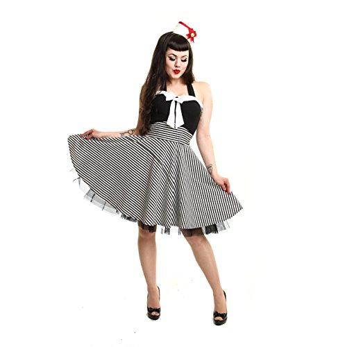 Donna Rockabella cantore dell'abito senza maniche - Neck Mini Marina Rockabilly Pin Up dell'abito bianco nero a strisce nero/bianco Large