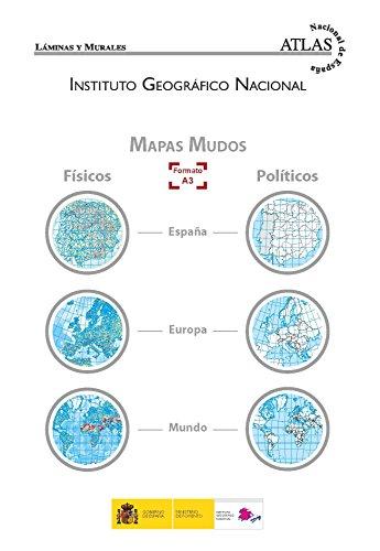 El mundo, Europa y España, físicos y políticos. A3. 12 mapas mudos. 2 de cada. En carpeta. IGN/CNIG