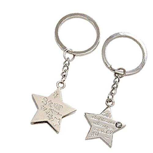 2 x Star Shaped Key Ring Chain Couple Keychain