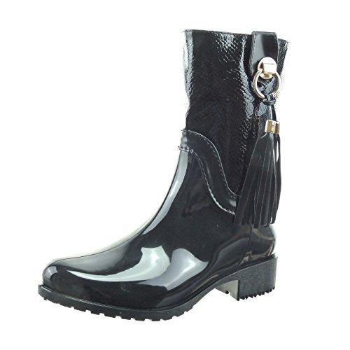 sopily-chaussure-mode-bottine-bottes-de-pluie-cavalier-mi-mollet-femmes-pom-pom-peau-de-serpent-bril