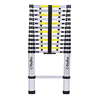 Ohuhu 12.5ft EN131 Aluminum Telescopic Extension Ladder, Extendable Telescoping Ladder with Spring Loaded Locking Mechanism Non-slip Ribbing 330 Pound Capacity