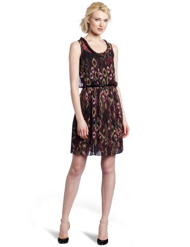 Ali Ro Women's Ikat Print Pleated Skirt Dress, Coco Ikat, 10