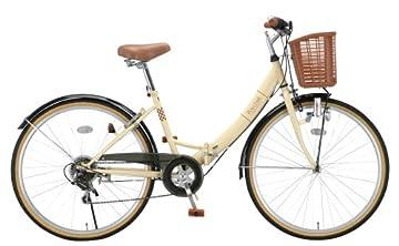Raychell(レイチェル) 26インチシマノ6段変速折りたたみ自転車 [ダイナモライト/リング錠/カゴ/チェーンケース標準装備] アイボリー ML-266R