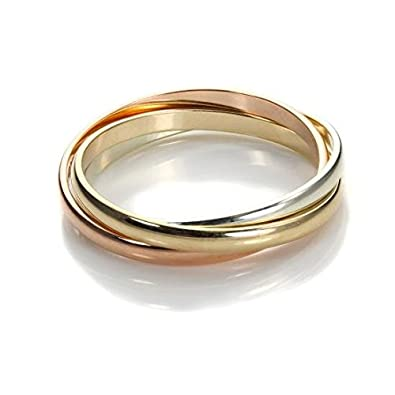 9ct Gold 2mm Yellow White & Rose Russian Wedding Band / 9ct Gold Rings - Sizes K - S