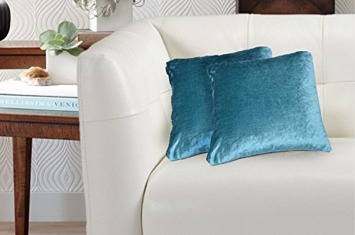 Avira Home Luxury Plain Velvet Cushion Cover-Set of 2-Turquoise