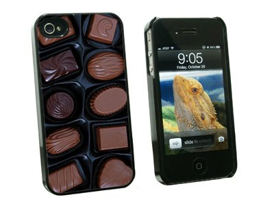 Box of Chocolates - Snap On Hard Protective Case for Apple iPhone 4 4S - Black