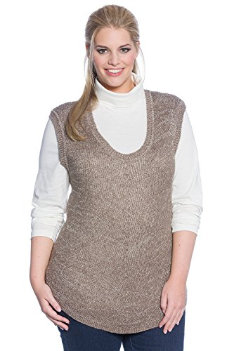 Ulla Popken Women's Plus Size Layer Sweater Tank Olive Grey 12/14 701896 45